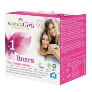 Protejslip cu aripioare, bio, Masmi Girls, 12 buc./cutie