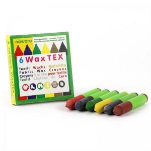 Creioane cerate Wax Tex pentru textile, 6 culori, Okonorm
